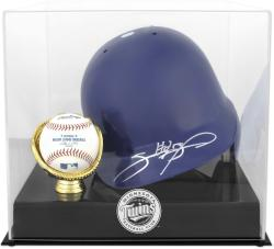 Minnesota Twins Batting Helmet with Ball Holder Logo Display Case - Mounted Memories