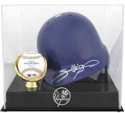 New York Yankees Batting Helmet with Ball Holder Logo Display Case - Mounted Memories