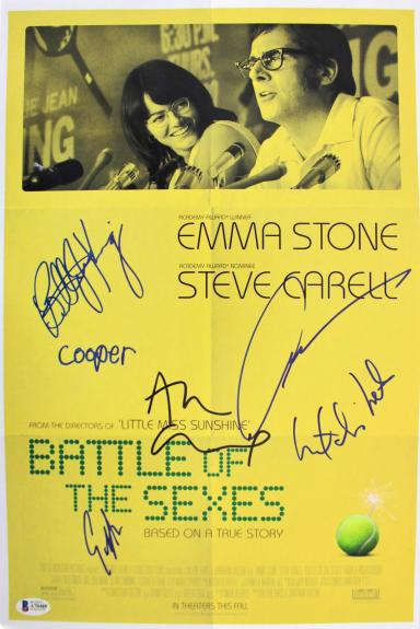 Battle Of The Sexes (6) King, Cumming, Olsen +3 Signed 12x18 Photo BAS #A70488