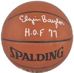 NBA Los Angeles Lakers Elgin Baylor Autographed Basketball with HOF '77 Inscription - Mounted Memories