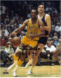 "Elgin Baylor Los Angeles Lakers Autographed 8"" x 10"" Dribbling Photograph with ""HOF 77"