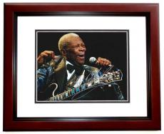 BB King Autographed Concert 8x10 Photo MAHOGANY CUSTOM FRAME