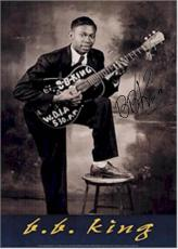 B.B. King Autographed Facsimile Signed Young Black N White Poster