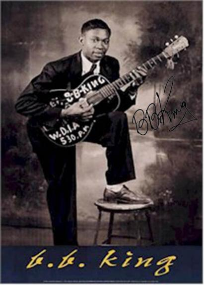 B.B. King Facsimile Signature   Young Black N White Poster