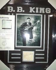 Bb King Music Legend Jsa Loa Signed Index Card Matted & Framed Rare Early Graph