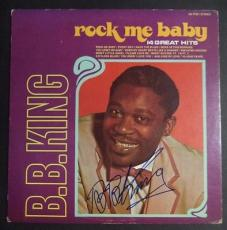 "Bb King Music Legend Signed Autographed ""rock Me Baby"" Album Cover Jsa Loa Rare"