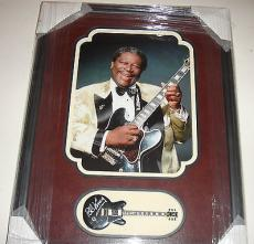 B.B. King Signed Lucille Blues Guitar Leather Matted & Framed Psa/dna Coa
