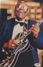 B.B. KING w/ Lucille Guitar SIGNED Color PHOTO BB Blues Legend w/ PSA DNA COA