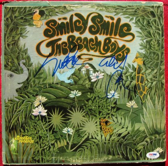 Beach Boys 2x signed Smiley Smile LP Album Cover PSA/DNA Mike Love Al Jardine