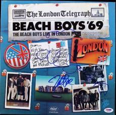 Beach Boys (3) Wilson, Love & Jardine Signed Album Cover W/ Vinyl PSA #T01064