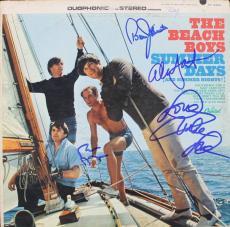 Beach Boys (4) Wilson Jardine Johnston & Love Signed Album Cover W/ Vinyl JSA