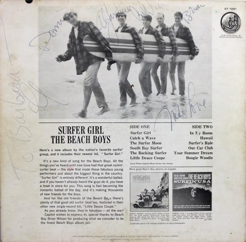 Beach Boys (6) Brian, Dennis, Al, Carl (2) & Mike Signed Album Cover W Vinyl BAS