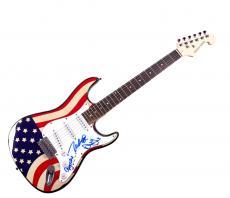 Beach Boys Autographed X3 Signed U.S.A. Flag Guitar UACC RD COA AFTAL