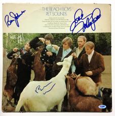 Beach Boys Brian Wilson Mike Love Bruce Johnston signed Album cover 3 auto COA
