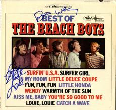Beach Boys X2 Autographed Best Of Album Cover AFTAL UACC RD COA