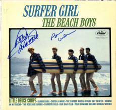 Beach Boys X2 Autographed Surfer Girl Album Cover AFTAL UACC RD COA
