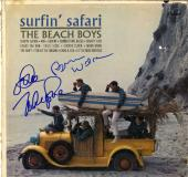 Beach Boys X2 Autographed Surfin Safari Album Cover AFTAL UACC RD COA
