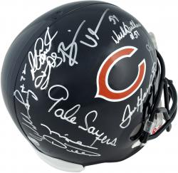 Chicago Bears All Time Greats Autographed Replica Helmet - 8 Signatures - Mounted Memories