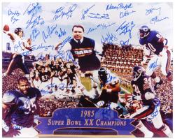 Chicago Bears 1985 Team Autographed 16'' x 20'' Photograph with 28 Signatures - Mounted Memories