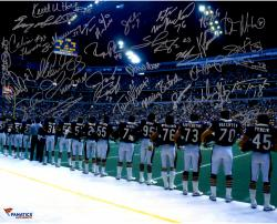 1985 Chicago Bears Team Signed 16'' x 20'' Sideline Photograph with 30 Signatures - Mounted Memories