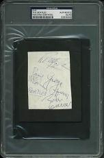 Beatles (4) Lennon, Harrison, McCartney & Starr Signed 2.75x3.75 Cut PSA Slabbed