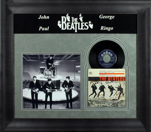 Beatles (4) Lennon, McCartney, Harrison & Starr Signed & Framed 45 RPM Album BAS