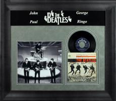 Beatles (4) Lennon, McCartney, Harrison & Starr Signed & Framed 45 RPM Album BAS