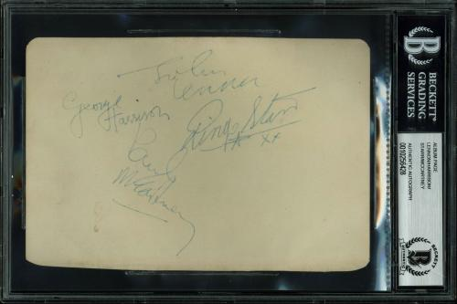 Beatles (4) McCartney, Lennon, Harrison & Starr Signed Album Page BAS Slabbed