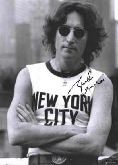 Beatles Autographed Facsimile Signed John Lennon New York City Sleeveless Poster