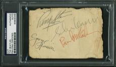 Beatles - Lennon, Harrison, McCartney & Starr Signed 3x4.5 Cut PSA/DNA Slabbed