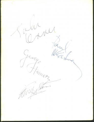 Beatles Lennon, McCartney, Harrison & Starr Signed 6.5x8 Dezo Hoffman Photo PSA