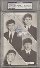 Beatles McCARTNEY, HARRISON & STARR Signed Postcard Slabbed PSA/DNA & JSA