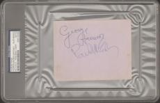 Beatles PAUL McCARTNEY, GEORGE HARRISON, JIMMIE NICOL Signed Cut Slabbed PSA/DNA