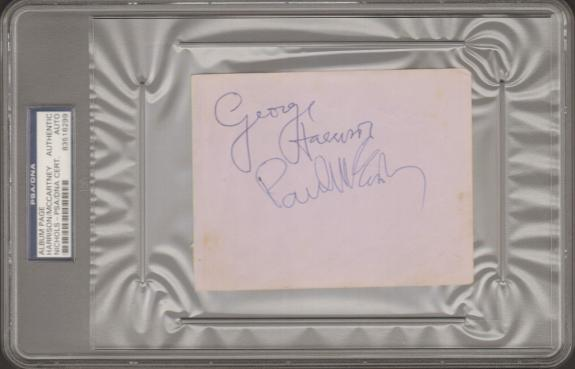 Beatles PAUL McCARTNEY, GEORGE HARRISON, JIMMIE NICOL Signed Cut Slabbed PSA/DNA