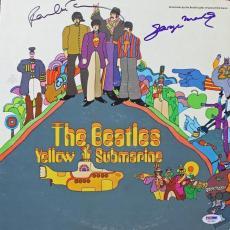 Beatles Paul Mccartney George Martin Signed Yellow Submarine Vinyl Psa/dna Loa