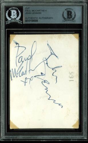 Beatles Paul McCartney & John Lennon Signed 2.5x3.5 Cut Signature BAS Slabbed