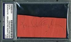 "Beatles Paul McCartney & Linda Dual Signed 1"" x 3"" Album Page PSA/DNA Authentic"