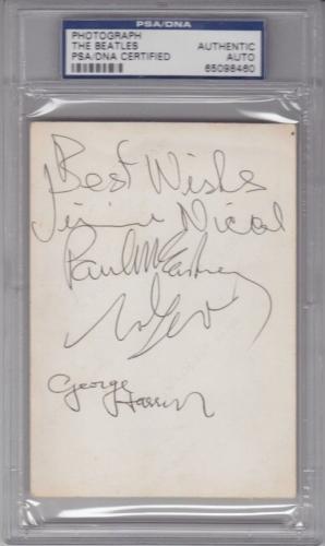 BEATLES Signed Photo Slabbed PSA/DNA Lennon, McCartney, Harrison, Nicol & Starr