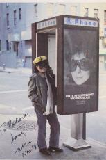 Beatles Yoko Ono Auto Signed Vintage 4x6 Photo Card John Lennon C