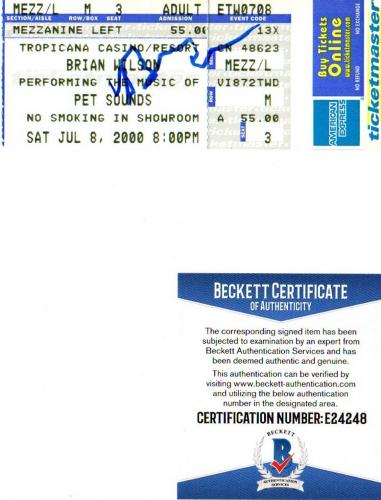Beckett-bas Brian Wilson Imagination Autographed-signed 2000 Ticket Stub E24248