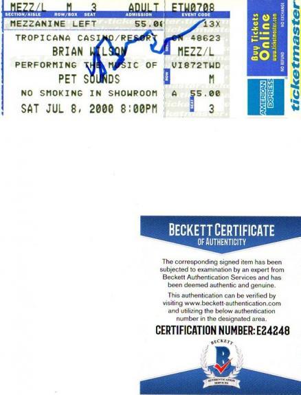 Beckett-bas Brian Wilson Imagination Autographed-signed 2000 Ticket Stub E24248