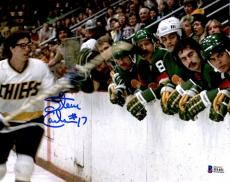 BECKETT-BAS HANSON BROTHERS SLAP SHOT SIGNED 8x10 PHOTO STICK TO FACE ON BENCH 1