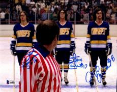 BECKETT-BAS HANSON BROTHERS SLAP SHOT TRIPLE AUTOGRAPHED-SIGNED 8x10 PHOTO 44031
