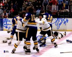 BECKETT-BAS HANSON BROTHERS SLAP SHOT TRIPLE AUTOGRAPHED-SIGNED 8x10 PHOTO 44033