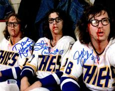 BECKETT-BAS HANSON BROTHERS SLAP SHOT TRIPLE AUTOGRAPHED-SIGNED 8x10 PHOTO 44039
