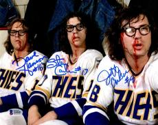 BECKETT-BAS HANSON BROTHERS SLAP SHOT TRIPLE AUTOGRAPHED-SIGNED 8x10 PHOTO 44040