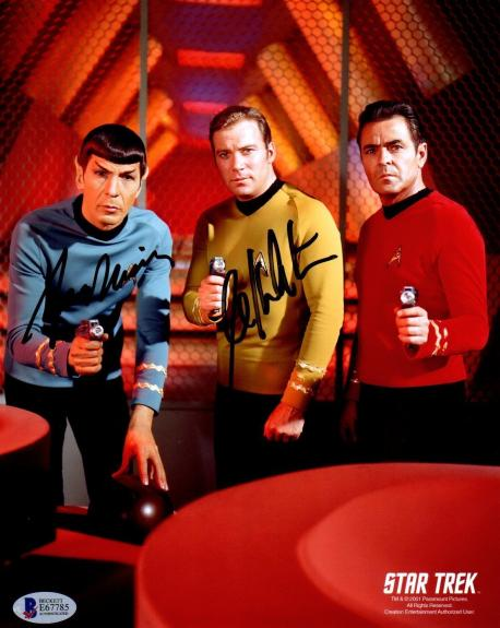 Beckett-bas Leonard Nimoy & William Shatner Star Trek Signed 8x10 Photo E67785