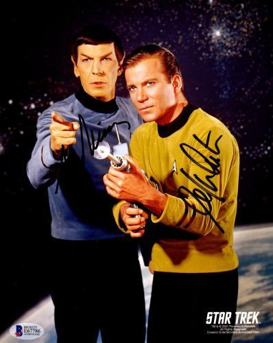 Beckett-bas Leonard Nimoy & William Shatner Star Trek Signed 8x10 Photo E67786