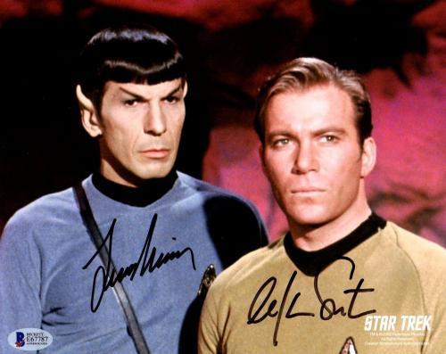 Beckett-bas Leonard Nimoy & William Shatner Star Trek Signed 8x10 Photo E67787