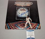 BEE GEES BARRY GIBB JOHN TRAVOLTA signed SATURDAY NIGHT FEVER LP RECORD BECKETT